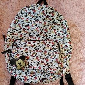 Mickey mouse Minnie white leather backpack bookbag